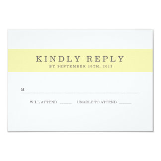 Chic Yellow Stripes Wedding RSVP Card