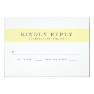 Chic Yellow Stripes Wedding RSVP 3.5x5 Paper Invitation Card