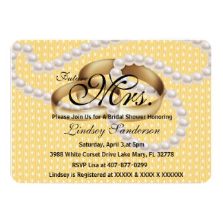Chic Yellow White Rings With Pearls Bridal Invite