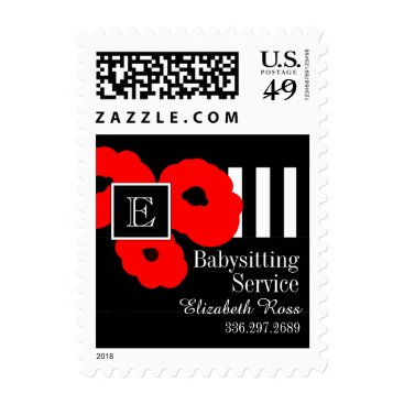 Professional Business CHIC YOU STAMP_MOD  FLORAL 01 RED POPPIES/STRIPES POSTAGE