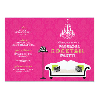 Chic Zebra Cocktail Party Invitation (hot pink)
