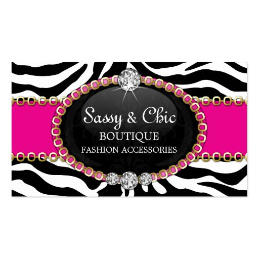 Chic Zebra Fashion Accessory and Jewelry Business Cards