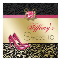 chic zebra gold pink Sweet Sixteen party Invites