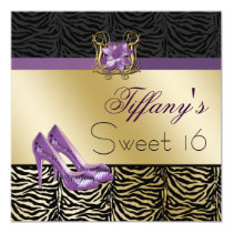 chic zebra gold purple Sweet Sixteen party Invites