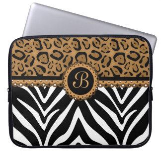 Chic Zebra Leopard Lace Monogram Laptop Sleeve