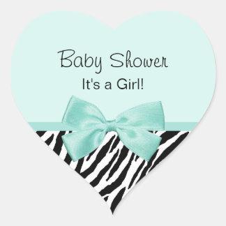Chic Zebra Mint Ribbon Girly Baby Shower Heart Sticker