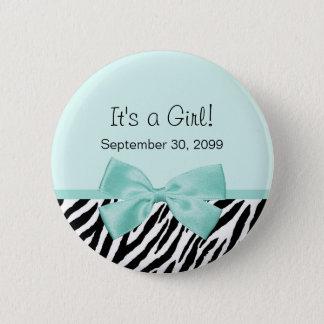 Chic Zebra Mint Ribbon Girly Birth Announcement Pinback Button