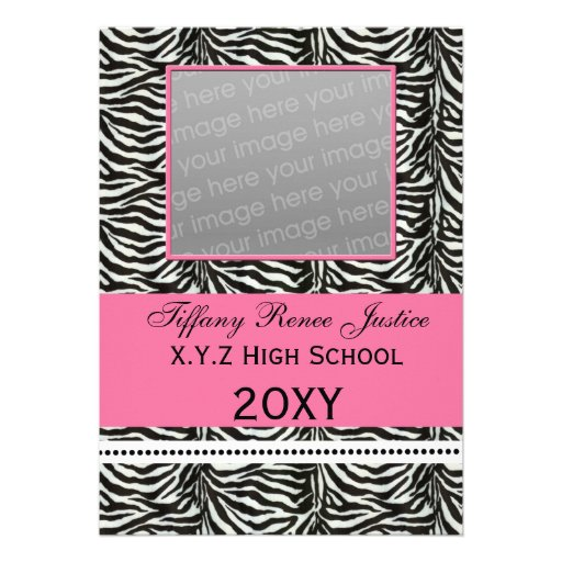 chic zebra pink Graduation photo Invitation
