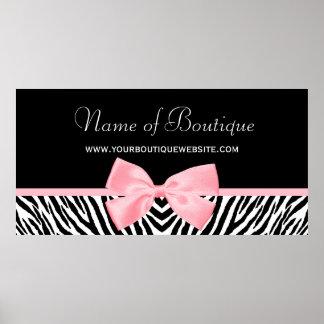 Chic Zebra Print 5 ft Banner Light Pink Ribbon