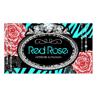 Chic Zebra Print and Vintage Roses Business Cards