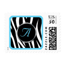 Chic Zebra Print Aqua Monogram postage stamps