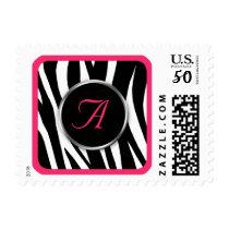 Chic Zebra Print Berry Monogram postage stamps