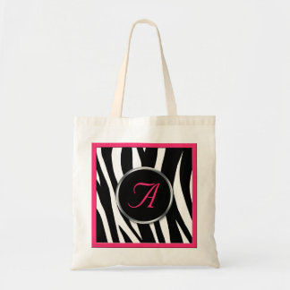 Chic Zebra Print Berry Pink Monogram Tote Bag