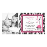 Chic Zebra Print Birthday Invitation PC Photo Greeting Card