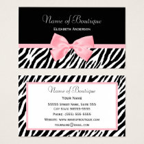 Chic Zebra Print Boutique Light True Pink Ribbon Business Card