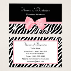 Chic Zebra Print Boutique Light True Pink Ribbon Business Card at Zazzle