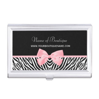 Chic Zebra Print Boutique Light True Pink Ribbon Case For Business Cards