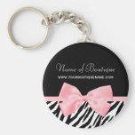 Chic Zebra Print Boutique Light True Pink Ribbon Basic Round Button Keychain