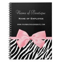 Chic Zebra Print Boutique Light True Pink Ribbon Notebook