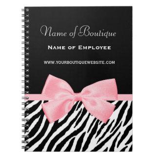 Chic Zebra Print Boutique Light True Pink Ribbon Notebooks