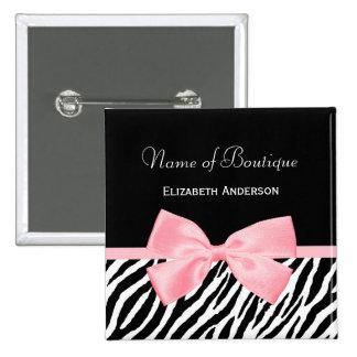 Chic Zebra Print Boutique Light True Pink Ribbon Pinback Button