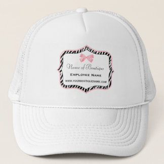 Chic Zebra Print Boutique Light True Pink Ribbon Trucker Hat