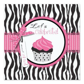 Chic Zebra Print Cupcake Birthday Card