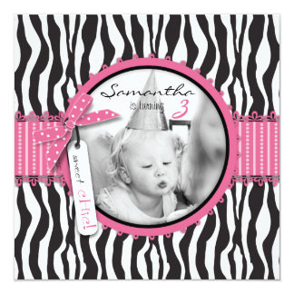 Chic Zebra Print & Cupcake Birthday Photo Template