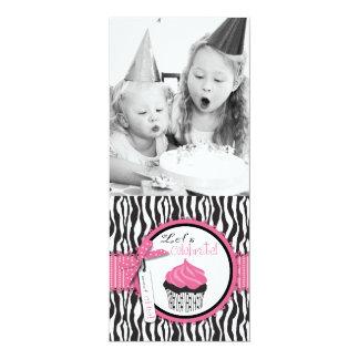 Chic Zebra Print & Cupcake Birthday Photo Template Personalized Invite