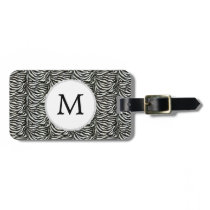 Chic zebra print customized initial monogram bag tag