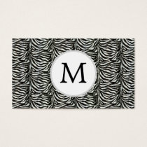 Chic zebra print customized initial monogram business card