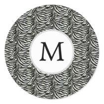 Chic zebra print customized initial monogram classic round sticker