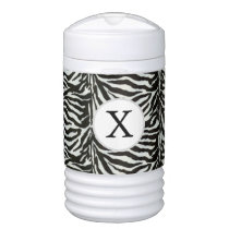 Chic zebra print customized initial monogram cooler