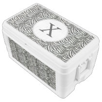 Chic zebra print customized initial monogram ice chest