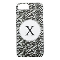 Chic zebra print customized initial monogram iPhone 8/7 case