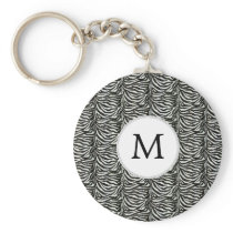 Chic zebra print customized initial monogram keychain