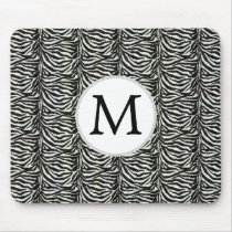 Chic zebra print customized initial monogram mouse pad