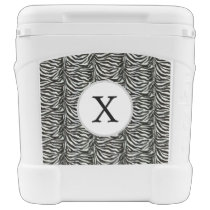 Chic zebra print customized initial monogram rolling cooler