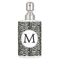 Chic zebra print customized initial monogram soap dispenser & toothbrush holder