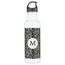 Chic zebra print customized initial monogram stainless steel water bottle