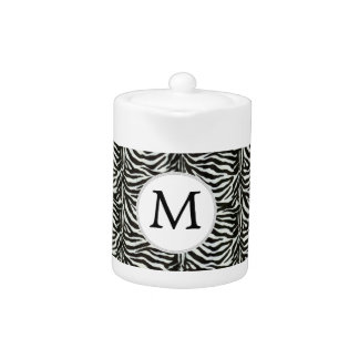 Chic zebra print customized initial monogram teapot