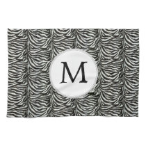 Chic zebra print customized initial monogram towel