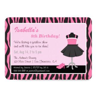 Chic Zebra Print Fashion Girls Birthday Party Card
