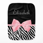 Chic Zebra Print Girly Light Pink Ribbon Baby Name Baby Burp Cloth