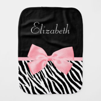 Chic Zebra Print Girly Light Pink Ribbon Baby Name Baby Burp Cloth
