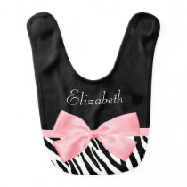 Chic Zebra Print Girly Light Pink Ribbon Baby Name Bib