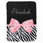 Chic Zebra Print Girly Light Pink Ribbon Baby Name Swaddle Blanket