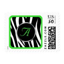 Chic Zebra Print Green Monogram postage stamps