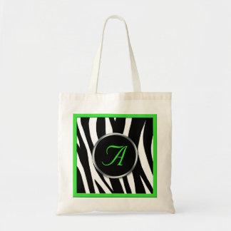 Chic Zebra Print Green Monogram Tote Bag
