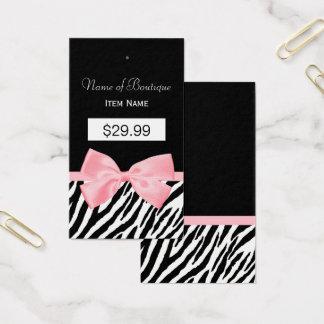 Chic Zebra Print Hang Tag Light True Pink Ribbon 2